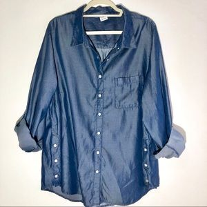 DC Jeans x Dia & Co Shiny Chambray Denim Shirt 2X